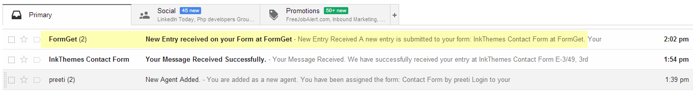 new query notification at agents mail account