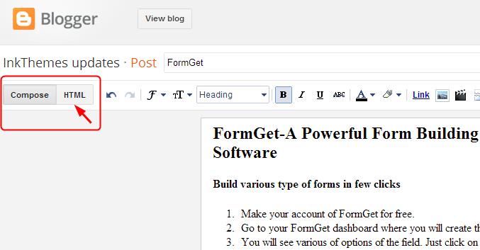 HTML option on blogspot