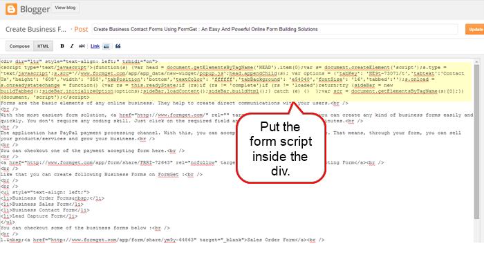 form script inside the div