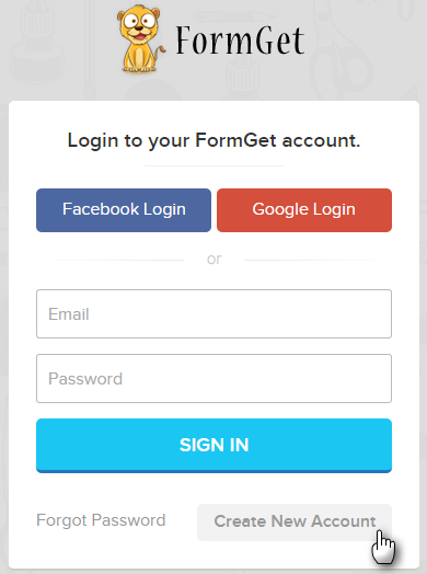 Sign up form appears on the screen which allow you to fill full name