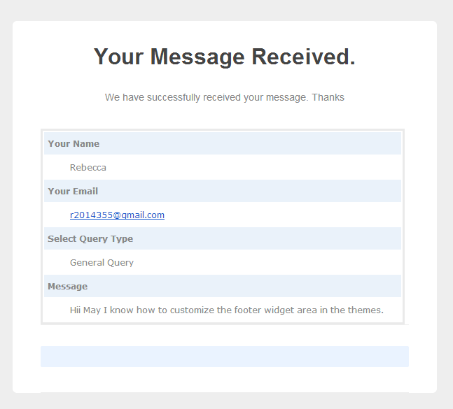 message notification in user's mail account