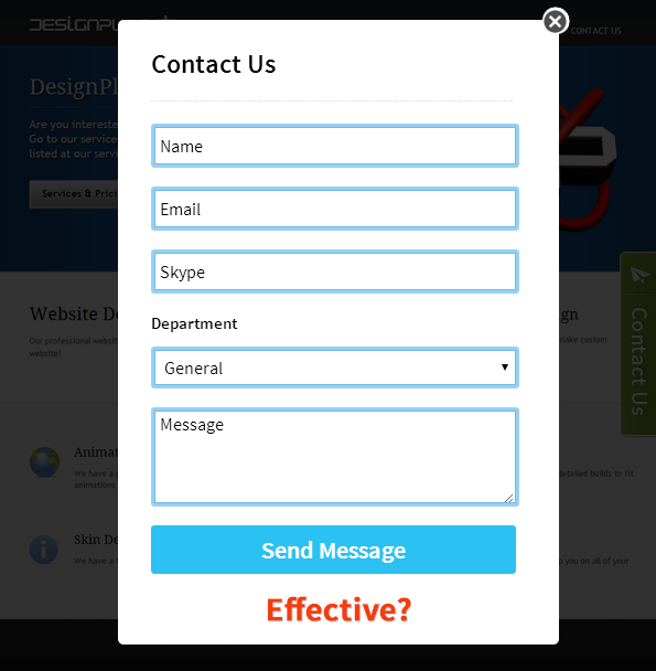 Lightbox contact form can increase your conversion