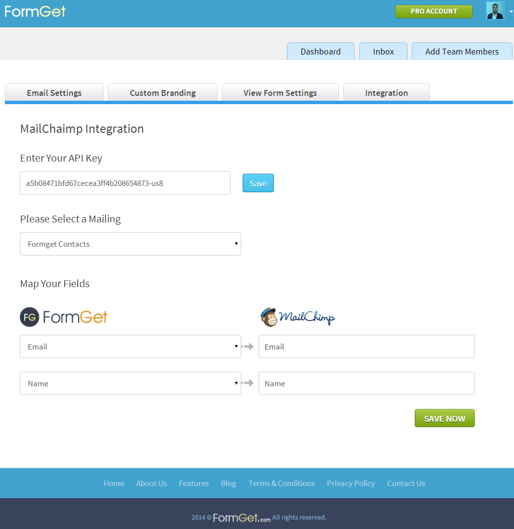MailChimp integration at FormGet