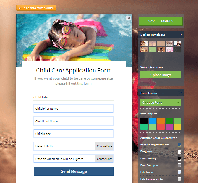 web form design template