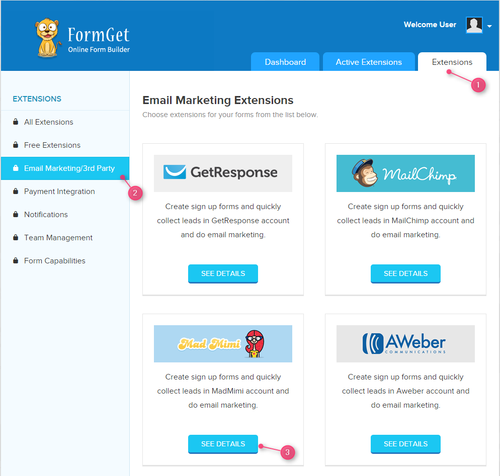 MadMimi a powerful email marketing app now integrated in FormGet