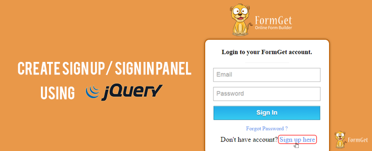 Show And Hide Registration/Login Form Using jQuery | FormGet