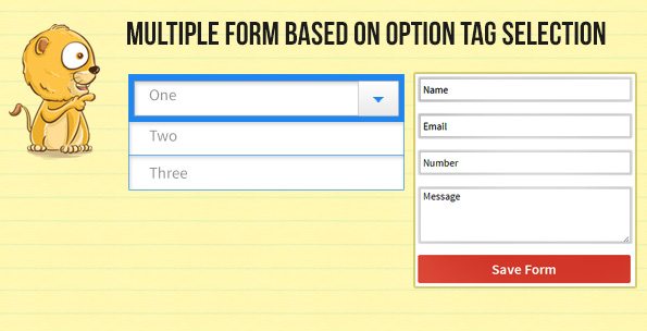 Show multiple form on option tag selection