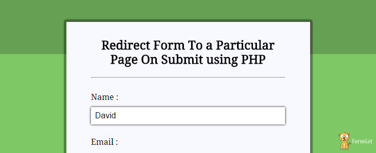 PHP Redirect to URL After Form Submission | FormGet