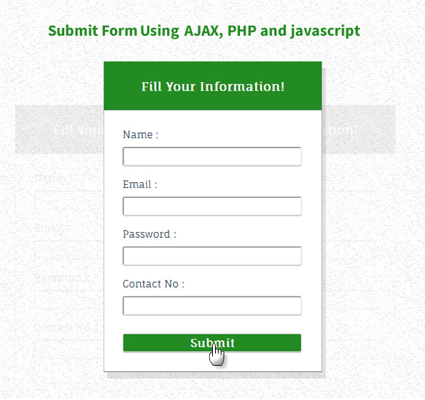 form submission using ajax, php and javascript