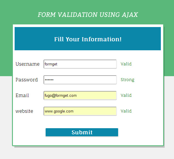form validation using ajax