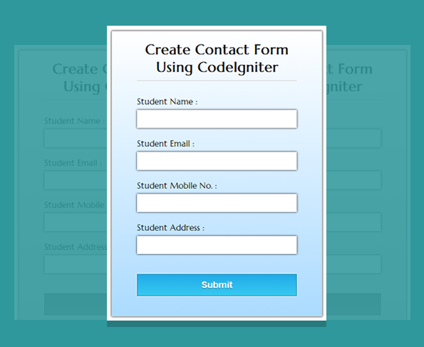 create contact form using codeigniter