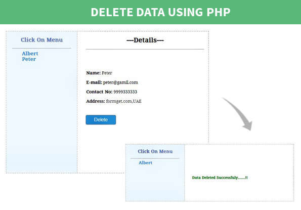 data deletion using php