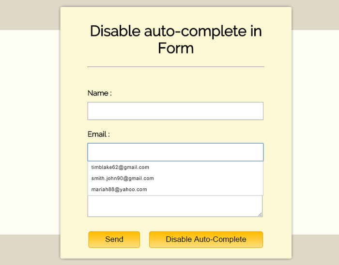 Disable Autocomplete In Form Fields With Jquery Formget