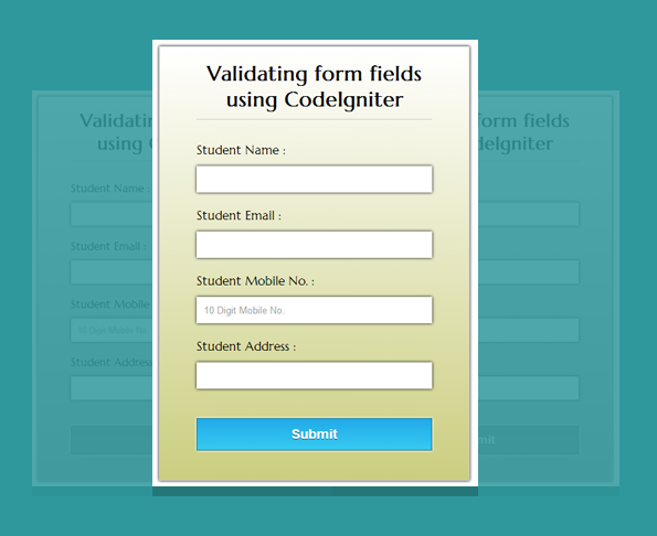 form validation using codeigniter