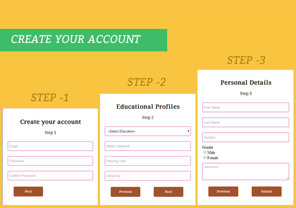 create multi step form using jQuery and CSS3