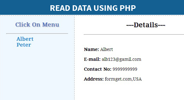 read data using php