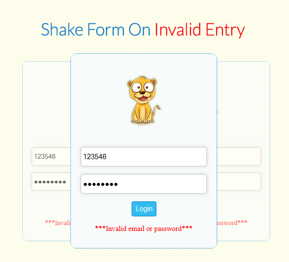 add shake effects on form for invalid entry
