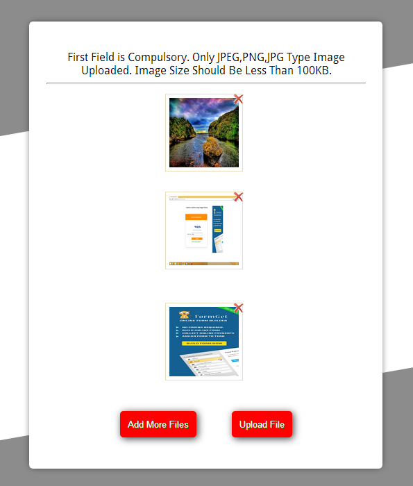 multiple images upload functionality using PHP and jQuery