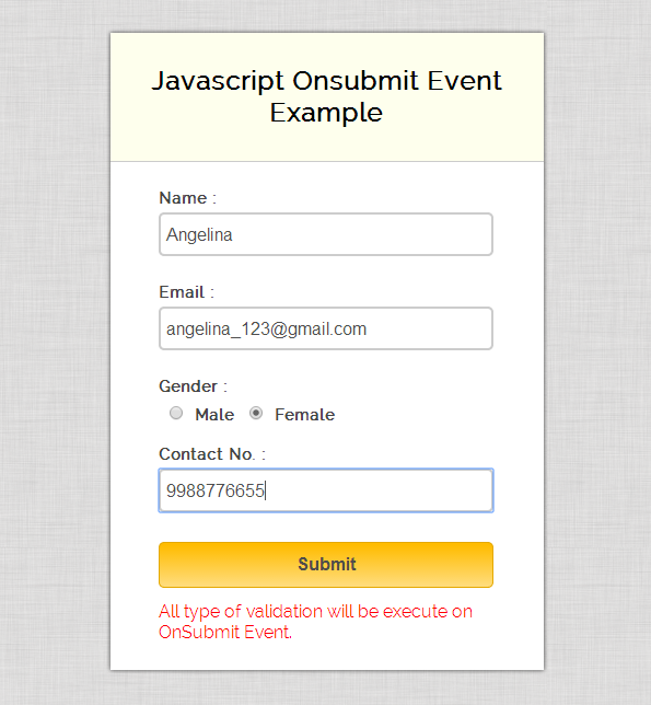 Validating forms with javascript and php example