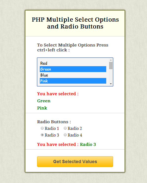 php get value of select option and radio button formget