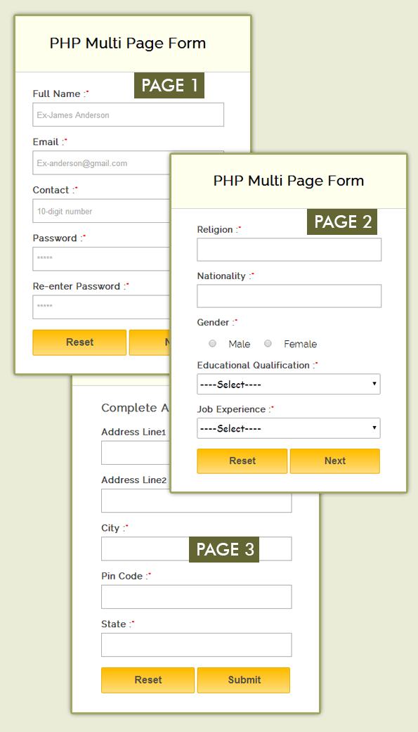 create multi page form using php