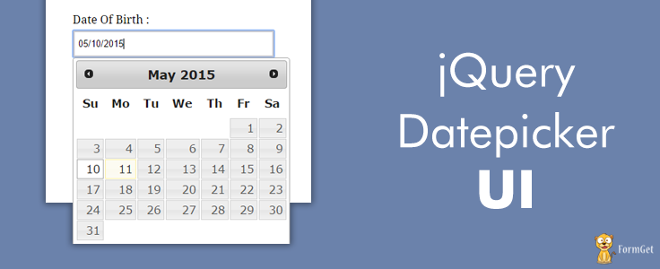 jQuery Datepicker Example | FormGet