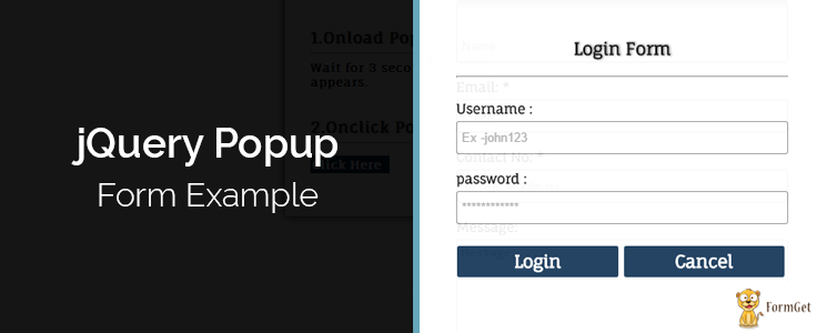jQuery Popup Login and Contact Form | FormGet