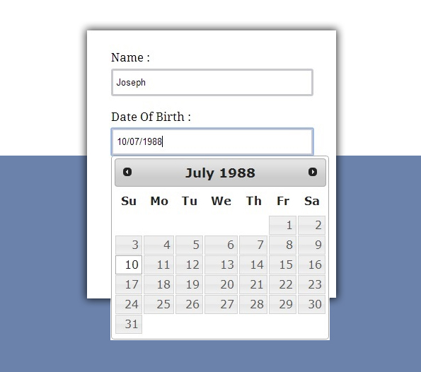 Jquery Datepicker Example Formget
