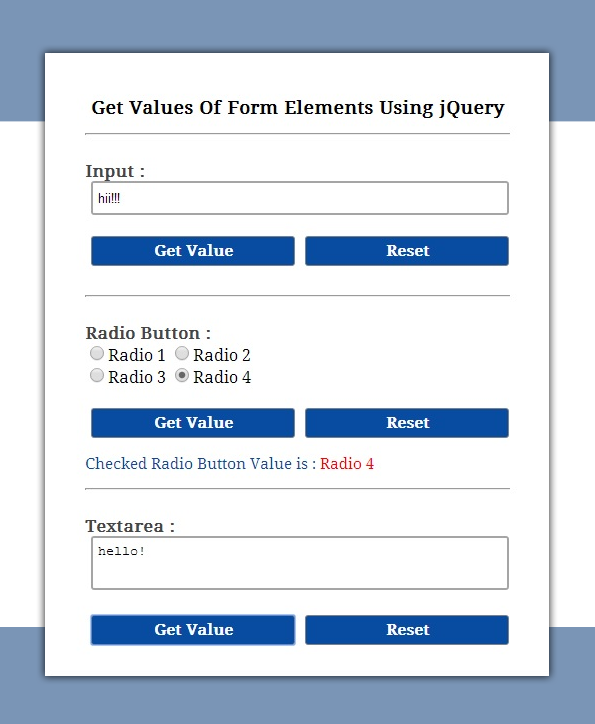 jQuery Get Value Of Input, Textarea and Radio Button | FormGet