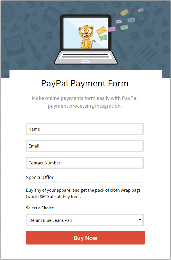 Online Payment Accepting Form for multiple products