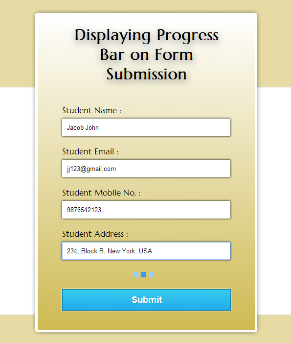 display progress bar on form submission