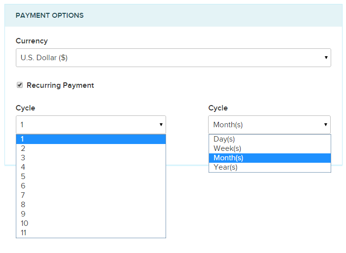 Recurring subscription option FormGet