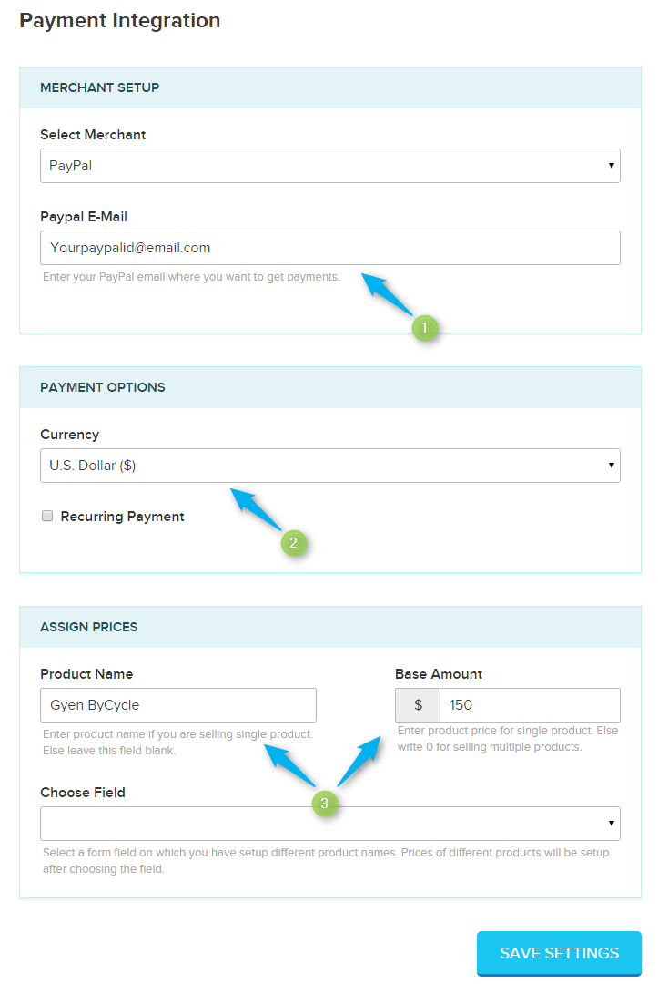 Single Product Payment Settings FormGet