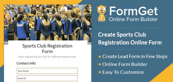Create Sports Club Registration Form For Sports Club & Game Organizations