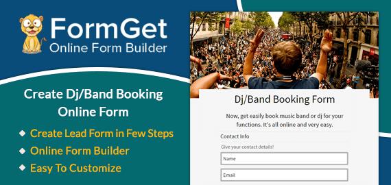 Create Dj/Band Booking Form For Musicians & DJs | FormGet