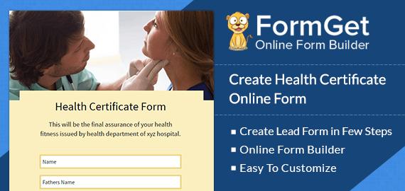 Health Certificate Form Slider