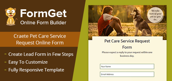 Pet Care Service Request Form Slider