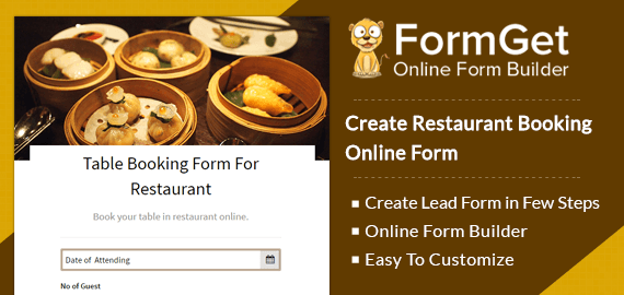 Restaurant Booking Form For Lounges, Hotels & Restaurants