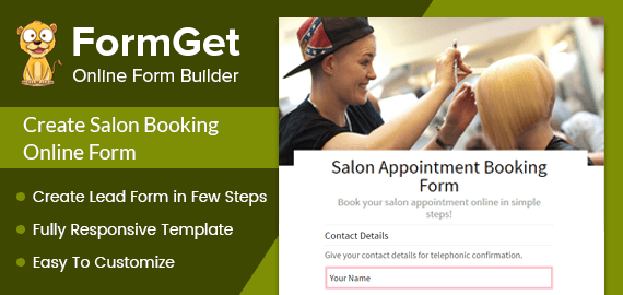 Salon Booking Form For Spa, Salons & Beauty Parlors