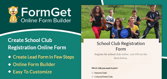 School Club Registration Form Slider