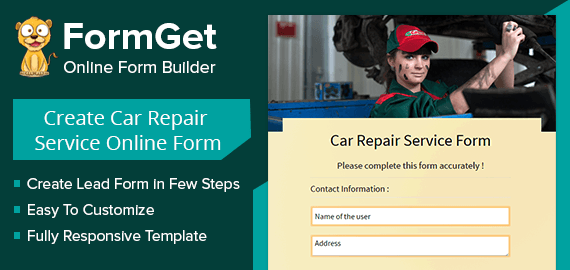 Create Car Repair Service Form For Garage & Automobile Service Centers