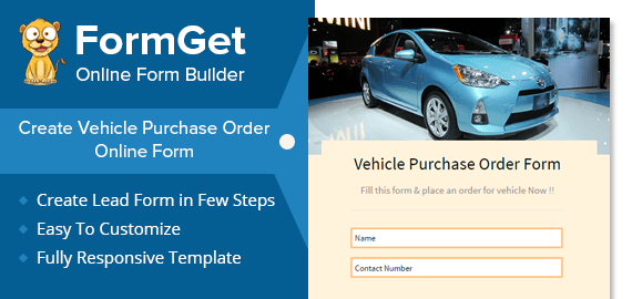 vehicle purchase order form for car showrooms  u0026 dealers