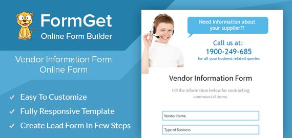 Vendor Information Form Slider