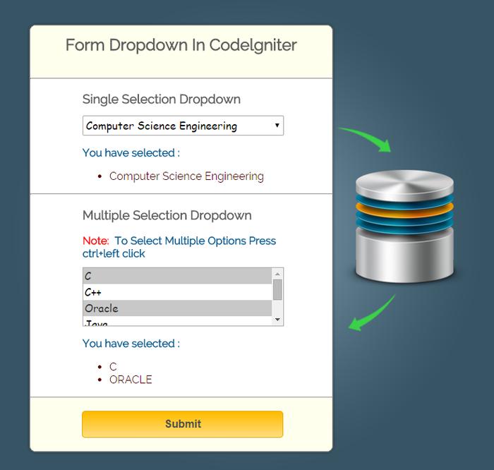 codeigniter-dropdown