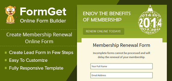 Membership Renewal Form For Your Existing Users Formget