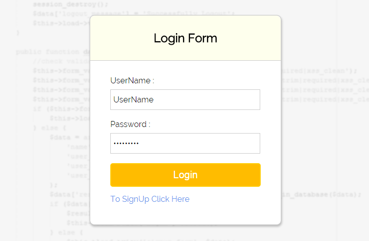 codeigniter-login-form