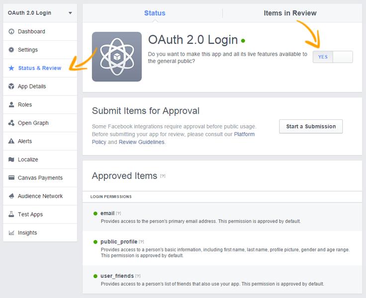 Facebook OAuth status