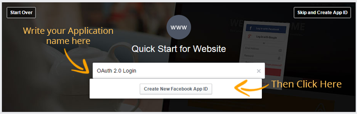 create Facebook app id