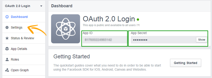 Facebook OAuth 2.0 login