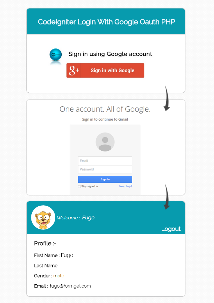 codeigniter login with google oauth PHP